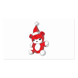 El gorra rojo lindo de Santa del oso de peluche Plantilla De Tarjeta De Negocio