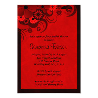 """El gótico rojo oscuro floral que casa la ducha invitación 5"""" x 7"""""""