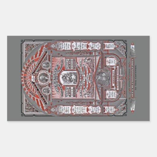 El grabado del vintage de Prayer del señor (rojo) Pegatina Rectangular
