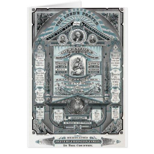 El grabado del vintage de Prayer del señor Tarjeta De Felicitación