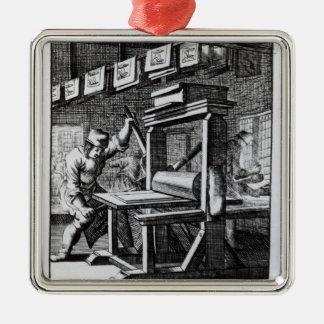 El grabador de la Cobre-placa, del 'voor del Iets Adorno Navideño Cuadrado De Metal