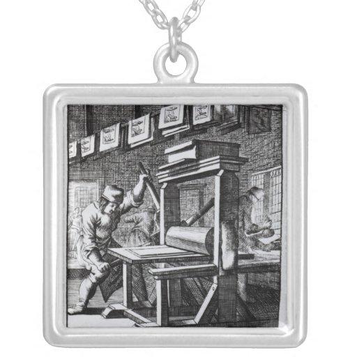 El grabador de la Cobre-placa, del 'voor del Iets Colgante Cuadrado