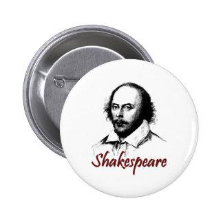 El grabar al agua fuerte de William Shakespeare Pin Redondo De 2 Pulgadas