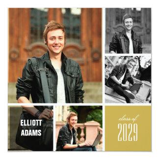 """El graduado del collage de la foto ajusta a la invitación 5.25"""" x 5.25"""""""