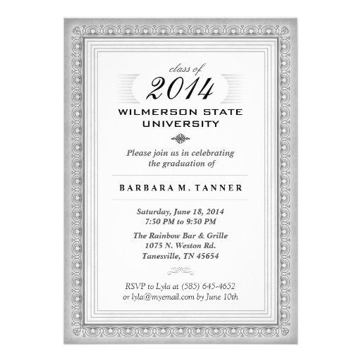 El graduado elegante gris y blanco del diploma (pa comunicado