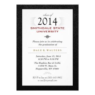 El graduado formal blanco y rojo negro invita invitación