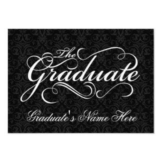El graduado, graduación negra elegante del damasco invitación 12,7 x 17,8 cm