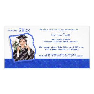 El graduado inspirado retro del lunar del azul rea tarjetas fotográficas personalizadas
