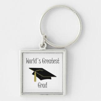 El graduado más grande del mundo llavero cuadrado plateado
