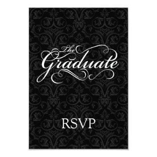 El graduado, negro elegante comunicado personalizado