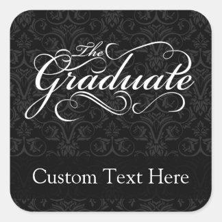 El graduado, negro elegante colcomanias cuadradases