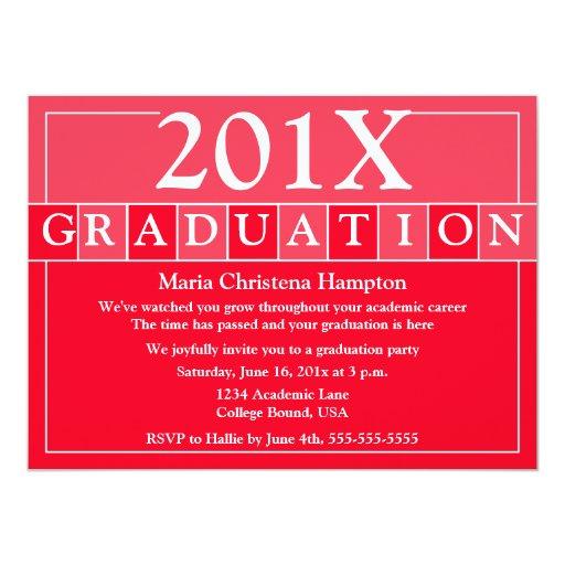 El graduado teja la invitación (roja) invitación 13,9 x 19,0 cm