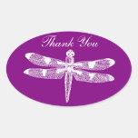 El gráfico de la libélula le agradece oval calcomanía de óval