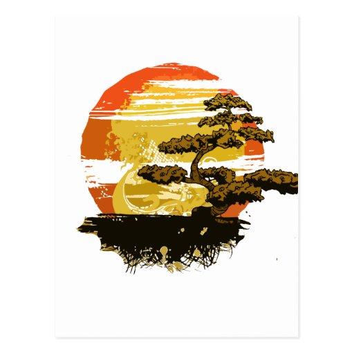 El gráfico del árbol de los bonsais del vintage en postales