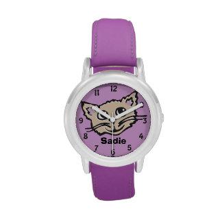 El gráfico del gato/del gatito de los chicas de la relojes de pulsera