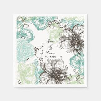 El gráfico floral moderno del vintage florece servilleta desechable