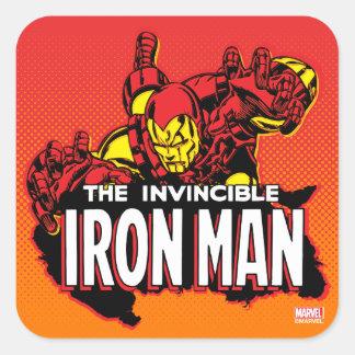 El gráfico invencible del hombre del hierro pegatina cuadrada