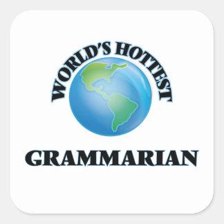 El gramático más caliente del mundo pegatina cuadradas personalizadas