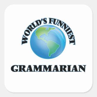 El gramático más divertido del mundo calcomanía cuadradas personalizada