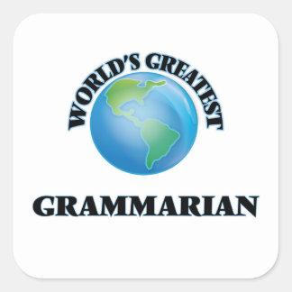 El gramático más grande del mundo calcomanías cuadradass