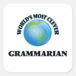 El gramático más listo del mundo pegatina cuadradas personalizadas