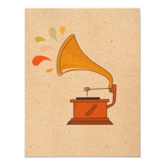 """el grammophone del vintage con música salpica en invitación 4.25"""" x 5.5"""""""