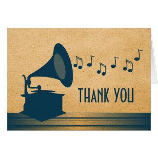 El gramófono azul del vintage le agradece cardar tarjeta
