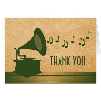 El gramófono verde del vintage le agradece cardar tarjeta