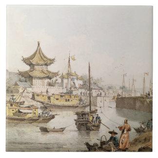 El Gran Canal, China, (w/c) Azulejo