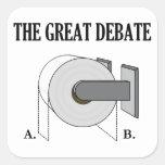 El gran discusión del cuarto de baño del papel hig calcomania cuadradas personalizada