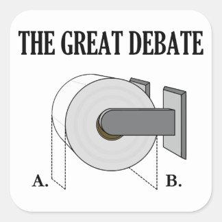 El gran discusión del cuarto de baño del papel pegatina cuadrada