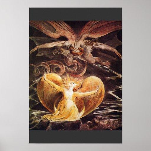 El gran dragón rojo y la mujer vestidos póster