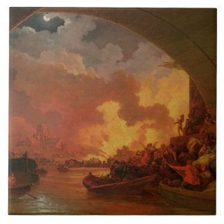 El gran fuego de Londres, c.1797 (aceite en lona) Azulejo Cuadrado Grande
