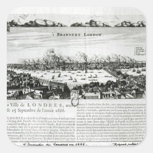 El gran fuego de Londres en 1666 Pegatina Cuadrada