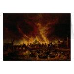 El gran fuego de Londres en 1666 Tarjeta De Felicitación