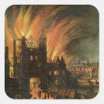El gran fuego de Londres (septiembre de 1666) con  Calcomania Cuadrada Personalizada