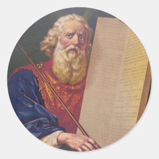 El gran legislador Moses con los diez mandamientos Etiqueta Redonda