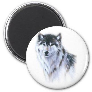 El gran lobo feroz en toda la gloria imán redondo 5 cm