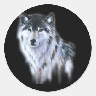 El gran lobo feroz en toda la gloria pegatina redonda