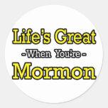 El gran… mormón de la vida pegatina redonda