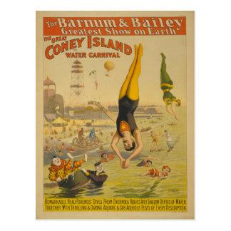 El gran poster del carnaval del agua de Coney Postales