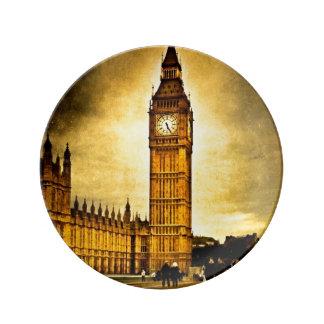 El gran reloj - vintage Londres Plato De Cerámica