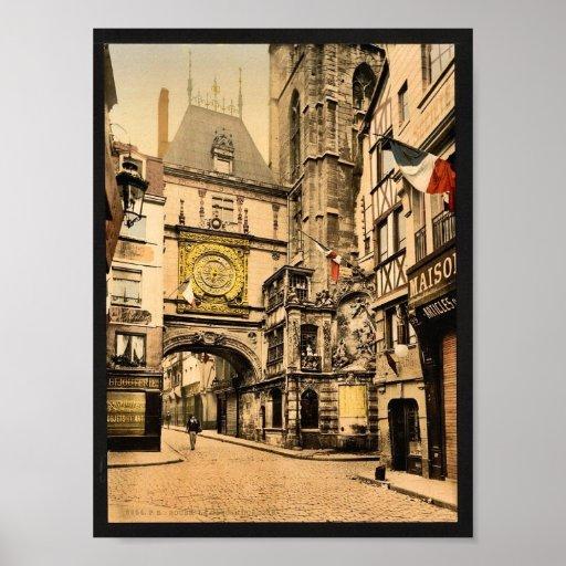 El gran reloj, vintage Photochrom de Ruán, Francia Impresiones
