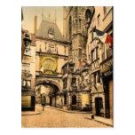 El gran reloj, vintage Photochrom de Ruán, Francia Postal