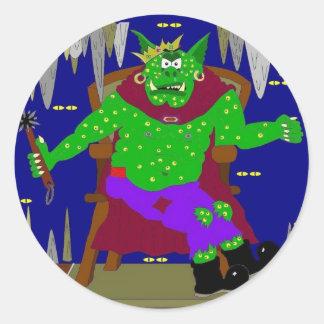 El gran rey real adecuado del Goblin de Wartarth Pegatina Redonda