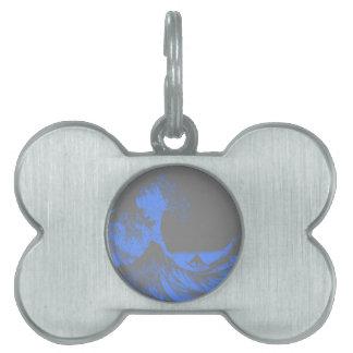 El grandes azul y gris de Seafoam de la onda Placas De Nombre De Mascota