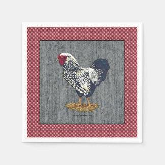 El granero atado plata del gallo de Wyandotte sube Servilletas Desechables