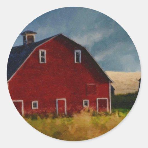 El granero rojo grande pegatina redonda