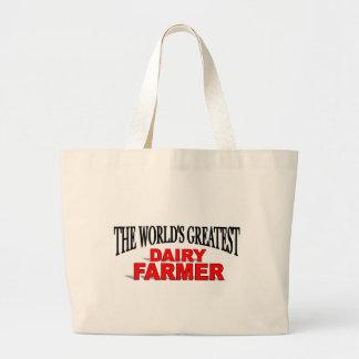El granjero de la lechería más grande del mundo bolsa tela grande