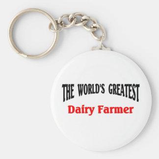 El granjero de la lechería más grande del mundo llavero redondo tipo pin